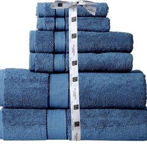 100 % Cotton 700 GSM 6 Piece Bath Towel Set Blue